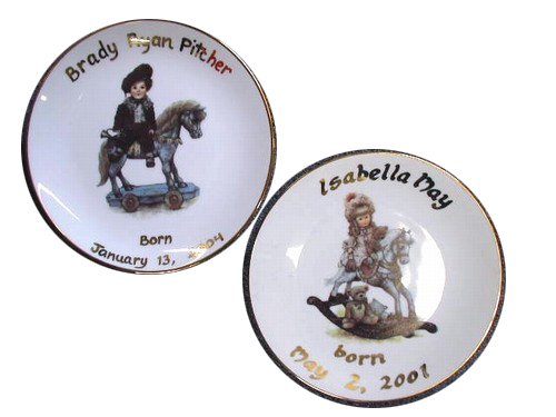 Birth Christening Plates